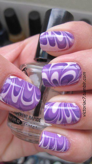 tie dye nails - purple