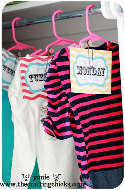 {Days of the Week Outfit Tags} for Back to School...punch a hole in card..put a ring on it and place around the hanger