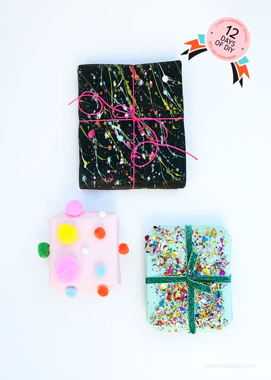 "3 Easy DIY Gift Wrapping Ideas via ""12 Days of DIY"" on Love from Ginger"