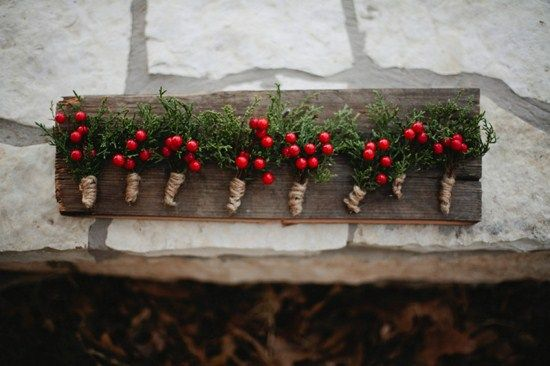Berries boutonnieres for rustic winter wedding #Garden Wedding ... Wedding ideas for brides, grooms, parents & planners ... itunes.apple.com/... … plus how to organise an entire wedding, without overspending ? The Gold Wedding Planner iPhone App ?