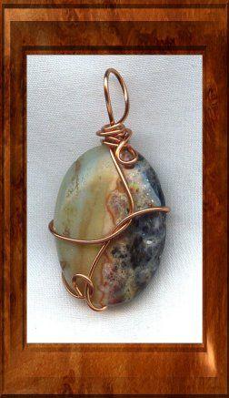 Amazonite Copper Wire Wrapped Pendant