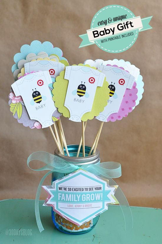 Unique but simple baby shower gift with printable from www.thirtyhandmad...