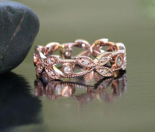 Floral MILGRAIN 14k Rose Gold and Diamond Wedding Band Eternity Ring