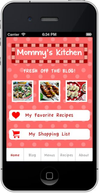 I finally get to announce that there's a Mommy's Kitchen iPhone App that's in the works, and almost complete.  Pretty soon you will be able to enjoy Mommy's Kitchen from wherever you are on your iPhone, iPad, and other Apple devices. As soon as it's ready for download in the iTunes Store I will let everyone know.