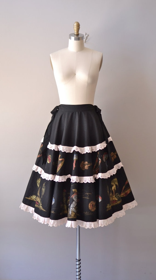 vintage 1950s Mexican Folklore skirt     #1950s #folk