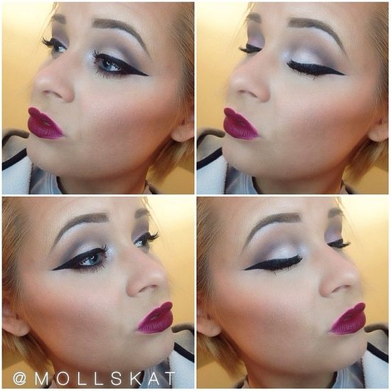 bold lip and soft eye makeup idea
