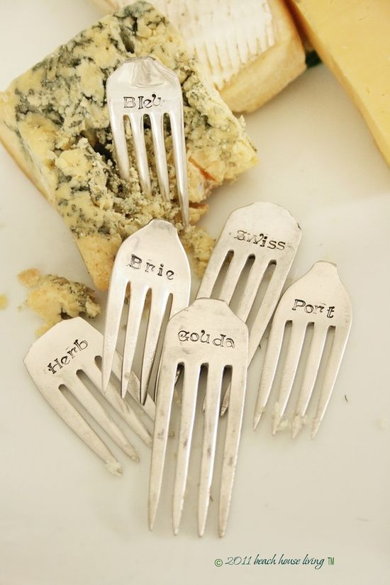 Stamped metal cheese markers