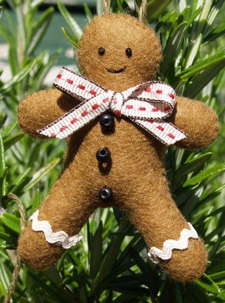 Felt Gingerbread Men Christmas Decorations