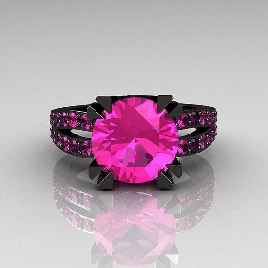 Modern Vintage 14K Black Gold 30 Carat Pink Sapphire by artmasters, $2249.00