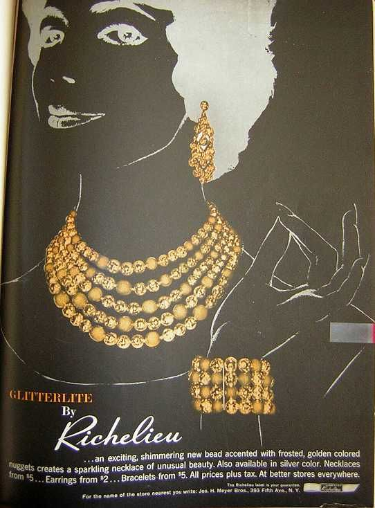 Richelieu vintage jewelry ad, illustration