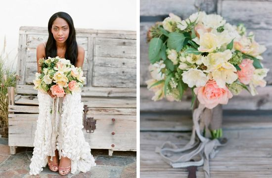 pale yellow and coral romantic wedding bouquet
