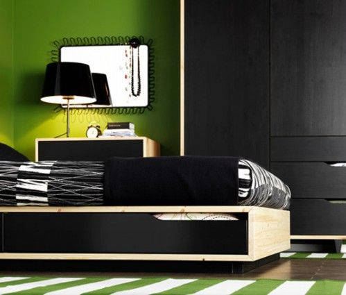 green and black is nice, that's an Ikea bed too.  Could work with orange and black too.