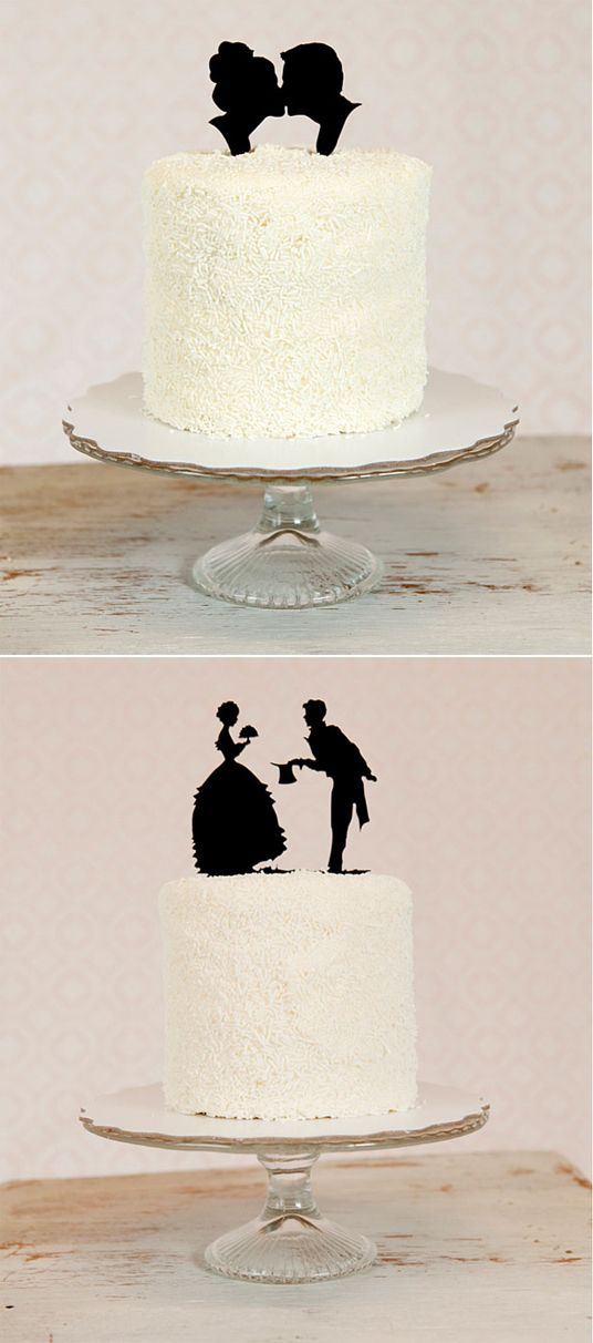 Simple silhouette cake toppers add just the right amount of vintage flair.