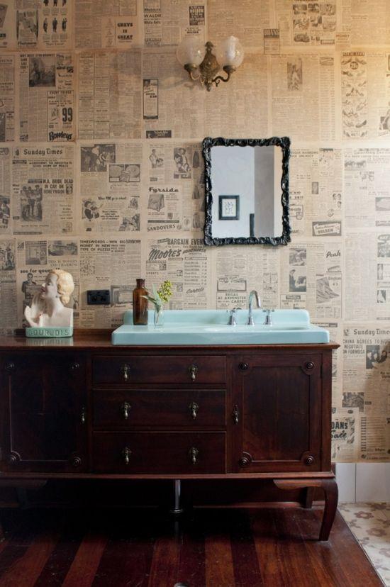 vintage newspapers as wallpaper