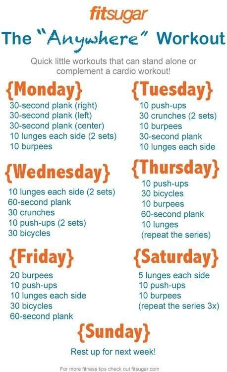Travel workouts for when you are not at home or near a gym.