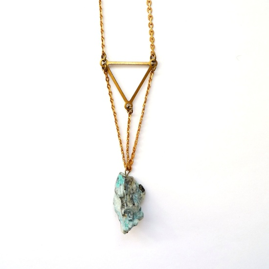 Blue Chrysocolla stone necklace with brass triangle. via Etsy.