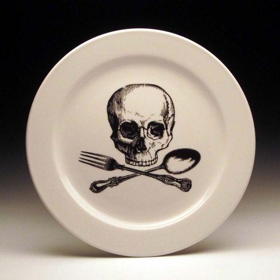 skull and cross-utensils plate $20