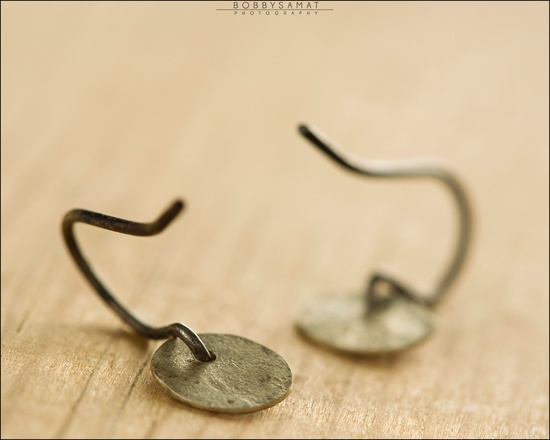 Oxidized Sterling Silver Hand Cut Circle Earrings - Jewelry by Jason Stroud.