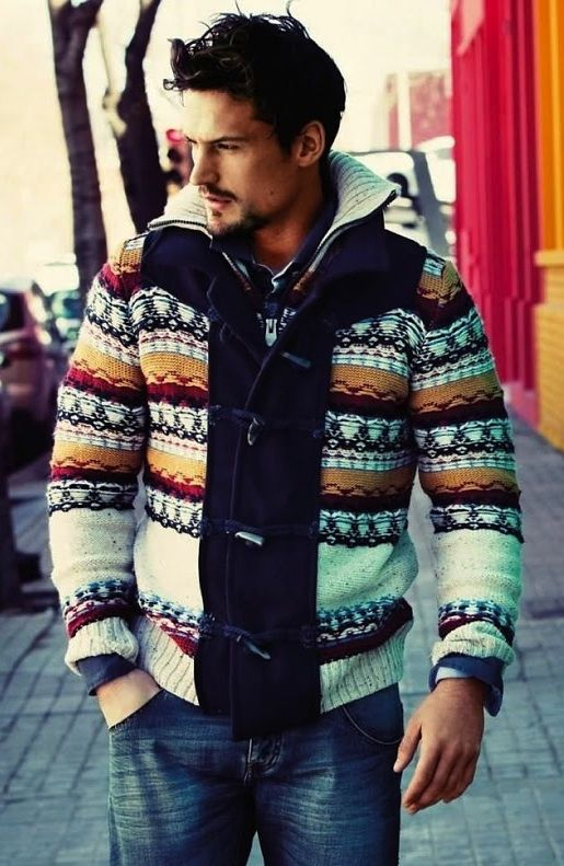 Desigual F/W 2013 lookbook...men's patterned cardigan