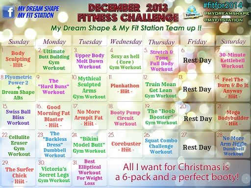 "Welcome to the ""December Fitness Challenge""! Grab your free Workout Calendar via www.myfitstation.com!"