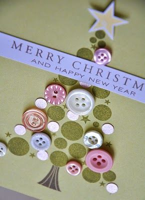 Merry Christmas button Christmas tree card