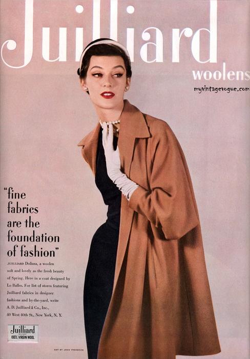 Juilliard woolens ad, 1950. #vintage #1950s #coats #fashion