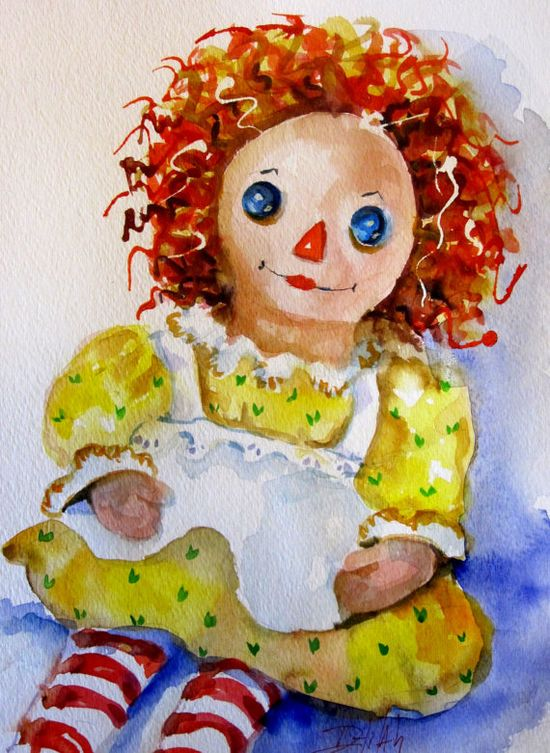 Raggedy Ann Doll original watercolor painting Art by Artbydelilah