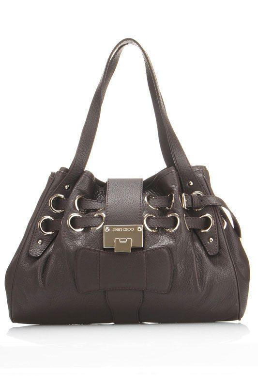 Riki Calfskin Handbag In Chocolate  The signature Jimmy Choo bag with its iconic hardware