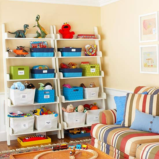 Toy Storage    No toy chest? No problem. A shelving unit like this one stores toys and games within easy reach for kids. As a safety measure, anchor the shelves to the wall for stability. Keep the mess in check by using labeled bins and baskets to make cleanup a breeze.