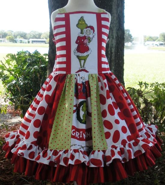 Custom Boutique Dr Seuss Fabric Grinch Christmas Dress Girl 2 3 4 5 6 7 8. $89.00, via Etsy.