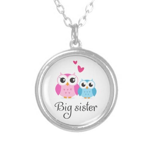 Cute #owls big sister little brother cartoon custom jewelry #giftideas