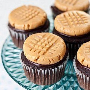 Chocolate cupcakes, with a peanut butter cookie frosting