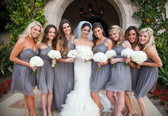 Gray Bridesmaid Dresses // Photo: Samuel Lippke Studios and Allan Zepeda // Wedding Planning: Details Details // TheKnot.com