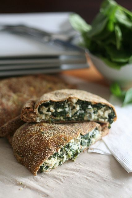 Whole wheat spinach calzone