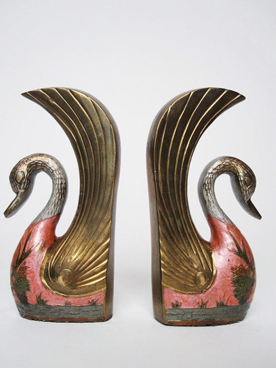 Art Nouveau  pretty swan bookends