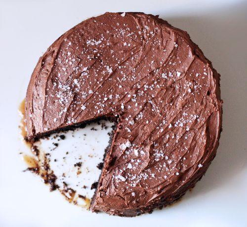 salted caramel six-layer chocolate cake