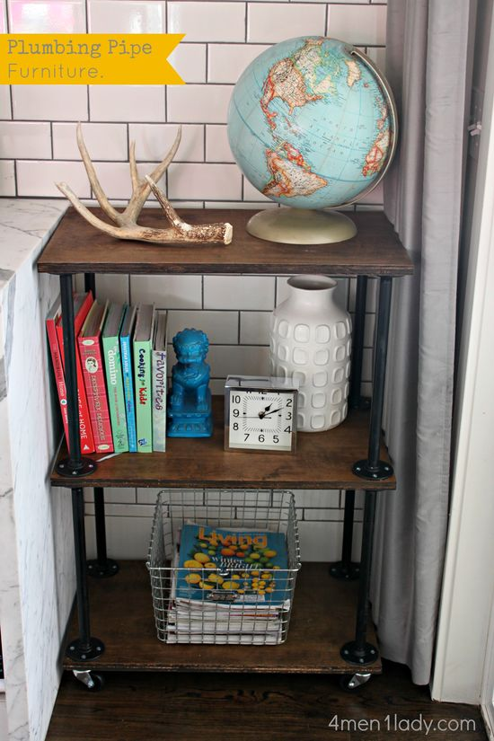 Wood and Plumbing hardware shelves. Some really good tips about using plumbing hardware for projects like this as well - #1 - buy the flanges online for 1/2 the price!
