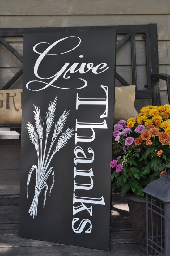 Give Thanks Wood Sign/Chalkboard Thanksgiving by noelinteriors, $85.00