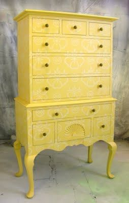 Painted Furniture by Sydney Barton - Yellow stenciled high-boy...