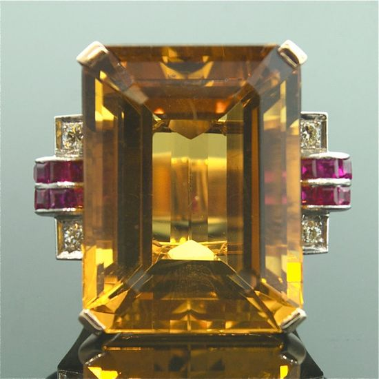 Art Deco . . .Citrine, Ruby, and Diamond Ring