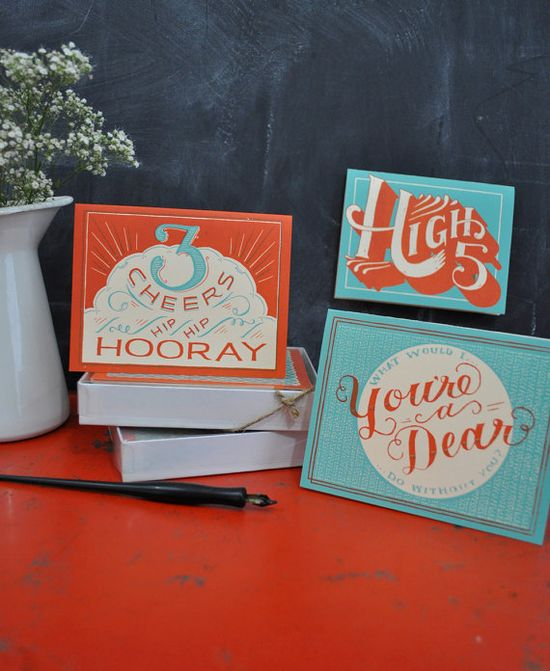 Hooray For You  Hand Printed Card  Set of 8 by MaryKateMcDevitt, $35.00