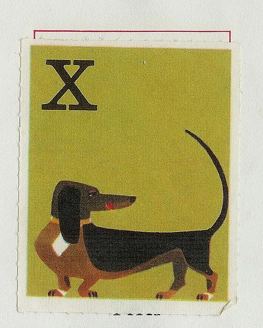 Vintage dachshund illustration from an old Swedish animal alphabet book.