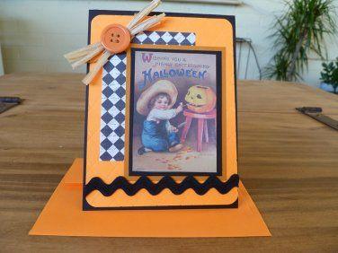 Handmade Halloween Card - Little boy with a pumpkin - Vintage inspired
