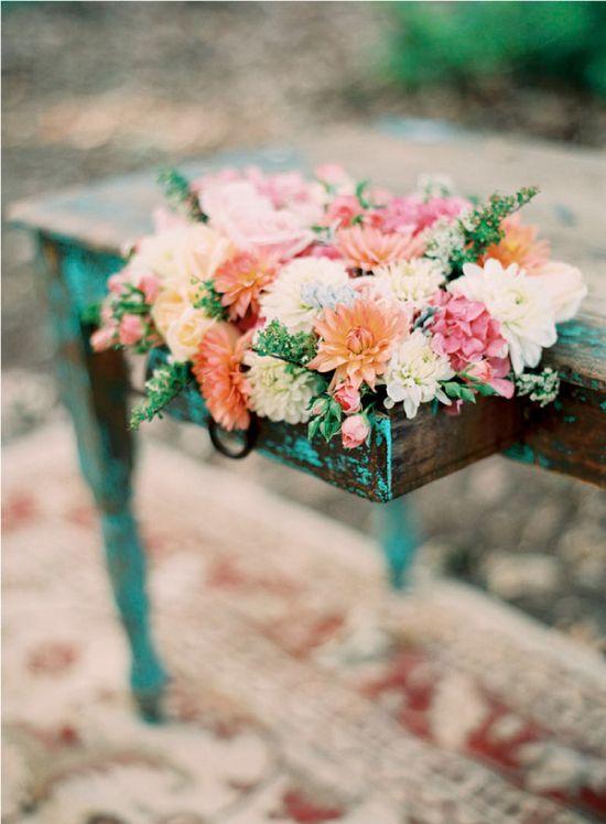 flowers in a side board