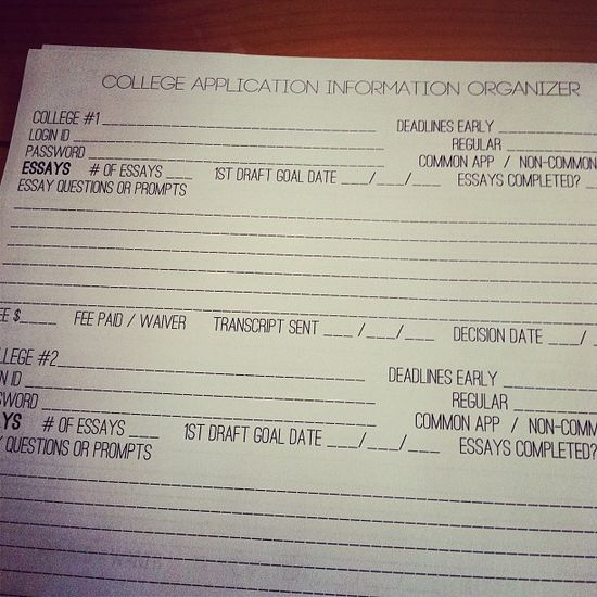 College Application Organization Printables.