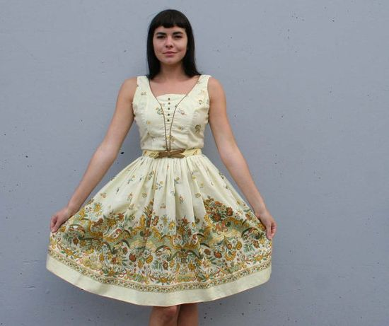 Vtg 1950s Cotton DAY DRESS / FLORAL Paisley Sun yellow, S