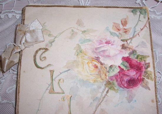 ANTIQUE Clippings Folder...Silk RIBBONS & Hand Painted Pink ROSES