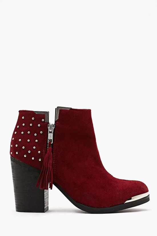 Studded Ankle Boot - Oxblood #oxblood #fall2013colortrend #winter2013colortrend #2013colortrend #chianti www.gmichaelsalon... #studded #ankleboot