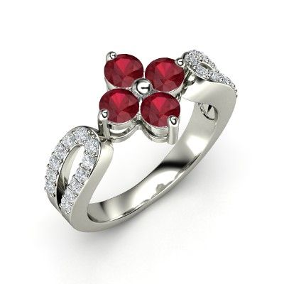 The Erica Ring. Radiant in Ruby #customizable #jewelry #ruby #diamond #birthstone #ring