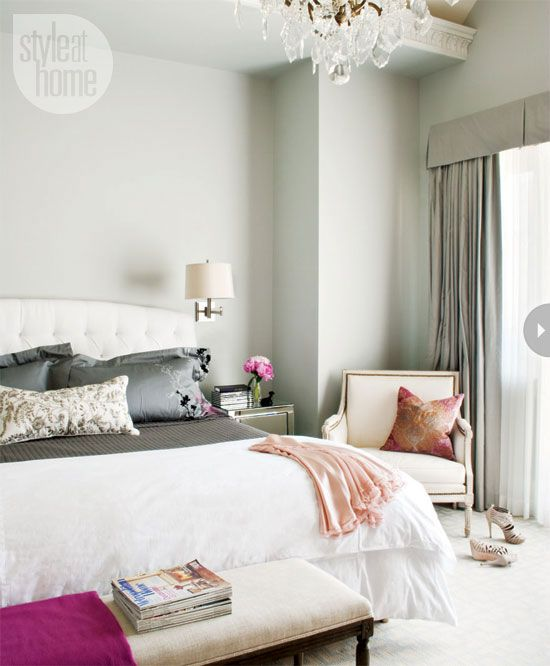 Parisian-style bedroom from Style at Home magazine. Love the headboard and the chair with the nailhead detail.